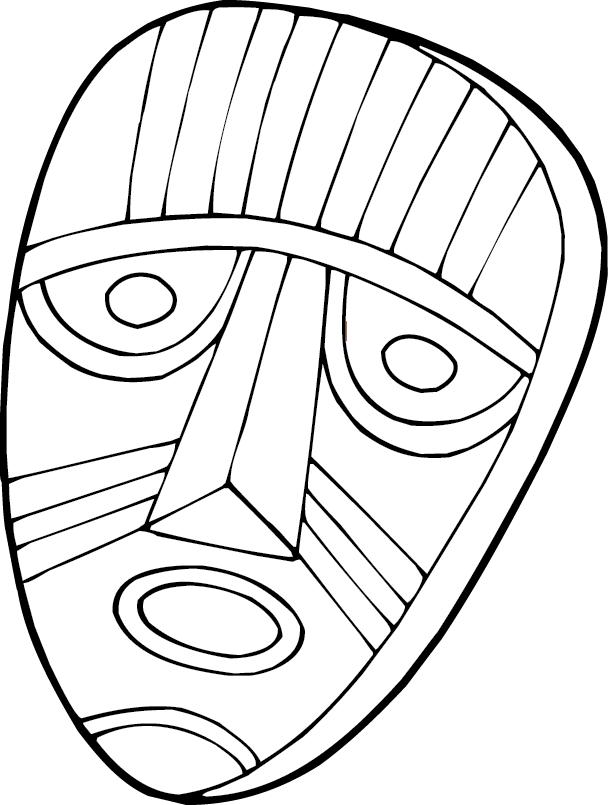Coloriage masque d 39 afrique afrocaneo - Masque a dessiner ...