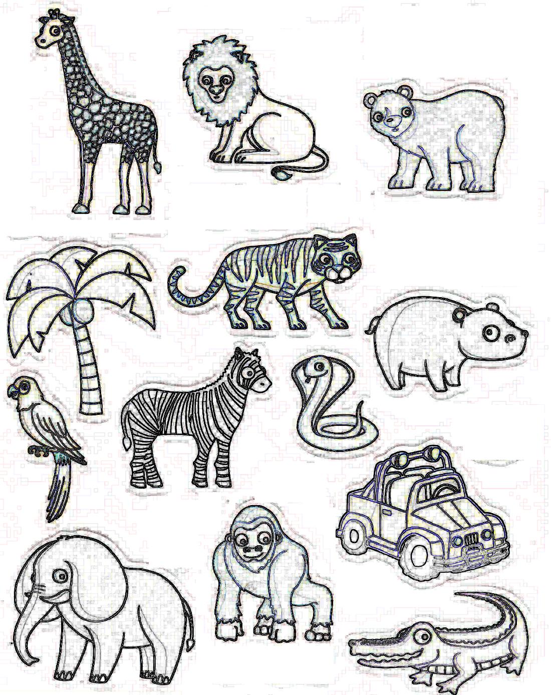 Coloriage Famille Delajungle.Coloriage Des Animaux De La Jungle Africaine Afrocaneo Carrefour