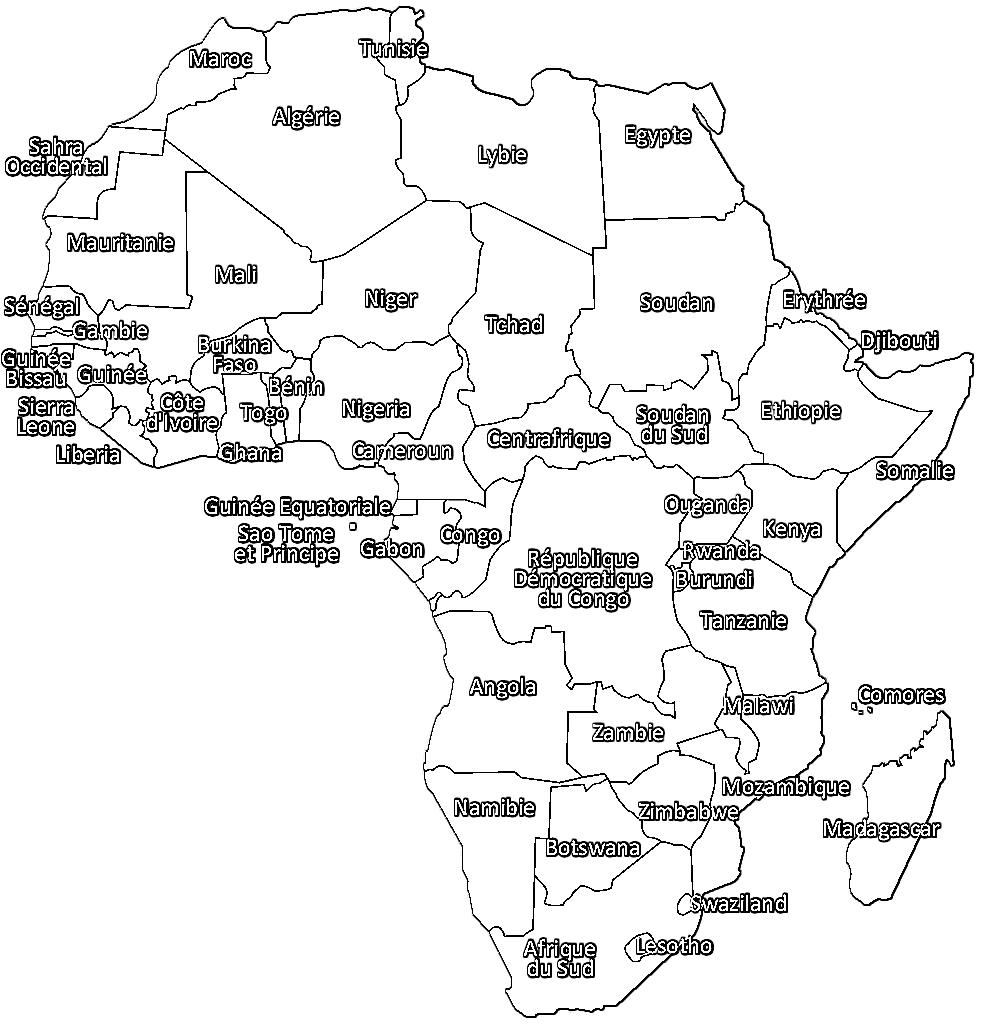 Coloriage carte de l 39 afrique imprimer afrocaneo carrefour culturel afrique monde - Coloriage afrique a imprimer ...